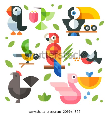 Color vector flat icon set and illustrations magic birds and chicks: toucan sitting on a branch, pelican fishing, hummingbird, parrot, chicken, puffin bird, bullfinch - stock vector