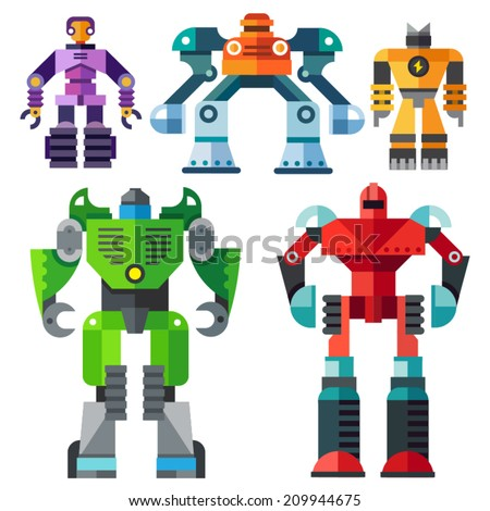 Color vector flat icon set and illustrations modern transformer robots - stock vector
