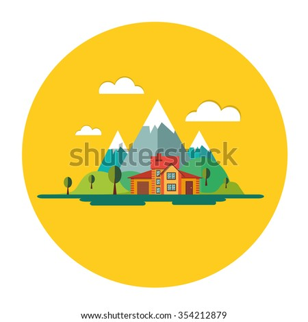 Color vector flat icon set and illustrations urban and village landscapes: nature, mountains, lake, vacation, sun, trees, house, mills, field, city, pollution - stock vector