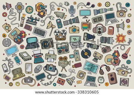 Color vector hand drawn Doodle cartoon set of equipment and devices objects and symbols - stock vector