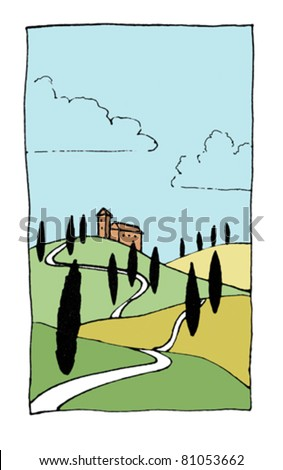 Color vector illustration of Tuscan hills. - stock vector