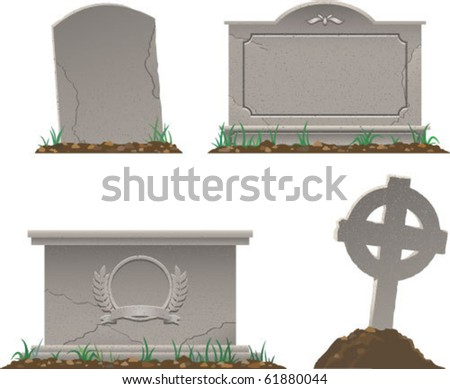 color vector image of various tombstones - stock vector