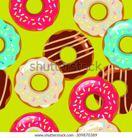 color vector seamless pattern with donuts - stock vector