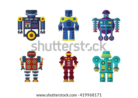 Color vector set of robots in flat style