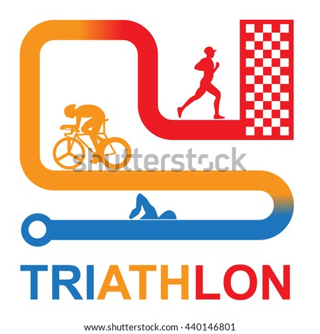 Color Vector symbol triathlon on a white background. Flat design. Swimming, cycling, running.