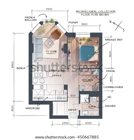 Color Vector Technical Drawing Of Abstract Interior Concept. Professional Architectural Background - stock vector