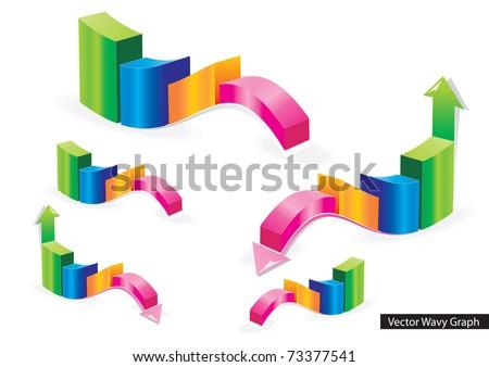 Color Vector Wavy Graph With Arrows - stock vector