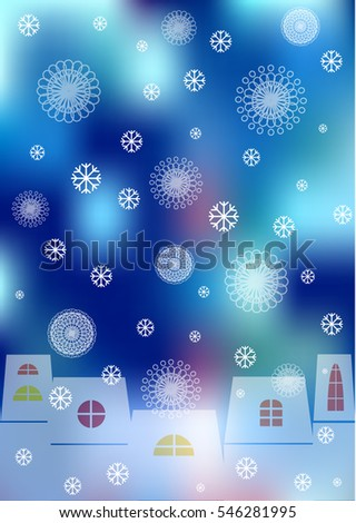 color vector winter background with cartoon houses and snow flakes