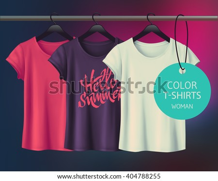 Color vector woman's t-shirt design template. - stock vector