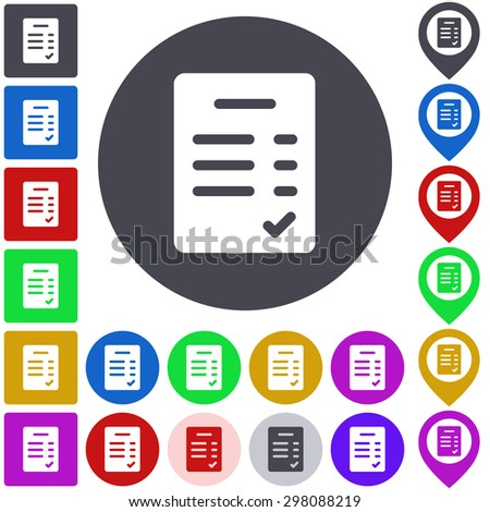 Color verified icon, button, symbol set. Square, circle and pin versions. - stock vector