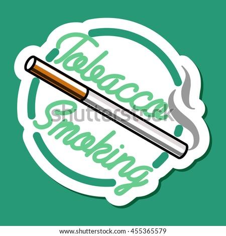 Color vintage smoking emblem, label, badge and design elements. Vector illustration, EPS 10 - stock vector