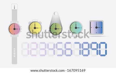 Color watches and clock : Illustration EPS10 - stock vector