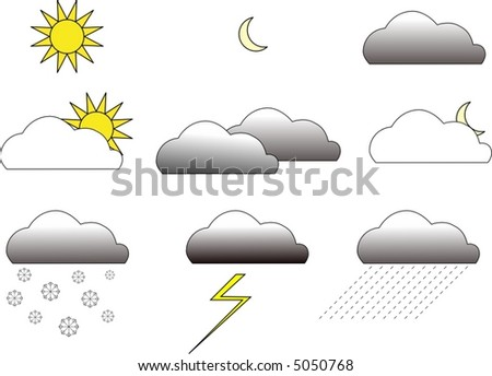 color weather vector icons - stock vector