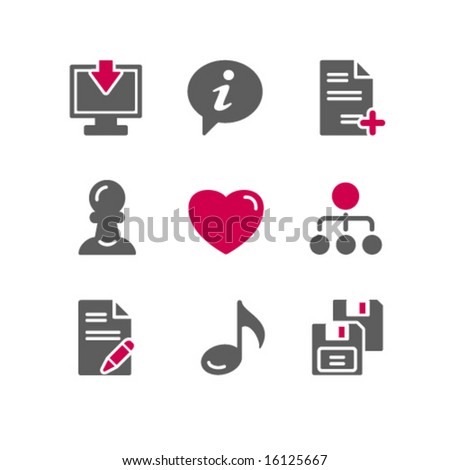 Color web icons, set 10 - stock vector