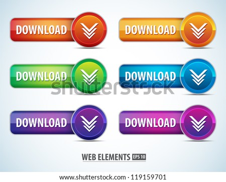 Color Web Page Download Buttons Vector On White Background