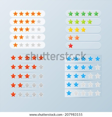 Color web rating stars set  - stock vector