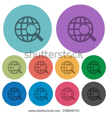 Color web search flat icon set on round background. 10 variations included. - stock vector