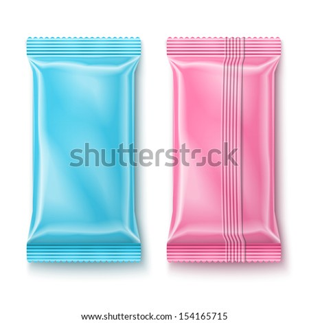 Color wet wipes package isolated on white background. Ready for your design. Packaging collection. - stock vector