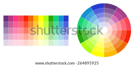 Color wheel and palette on white illustration - stock vector