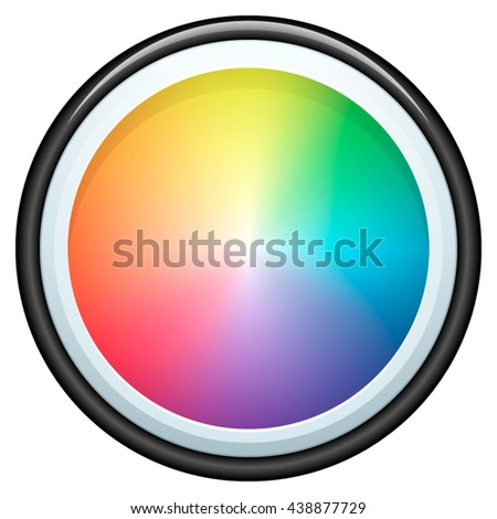 Color wheel button - stock vector