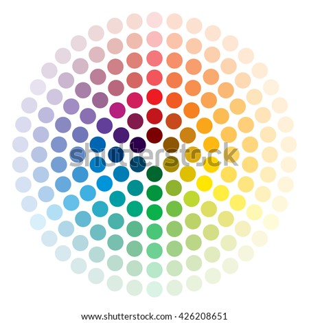 Color wheel composed of circles on white - stock vector
