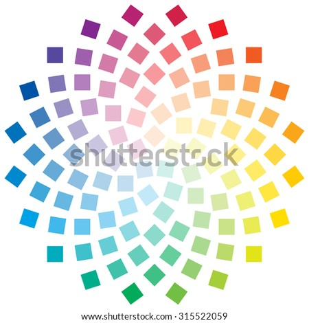 Color wheel composed of square elements on white background - stock vector