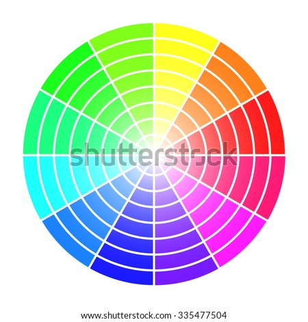 Color Wheel Vector Template Isolated On White Background