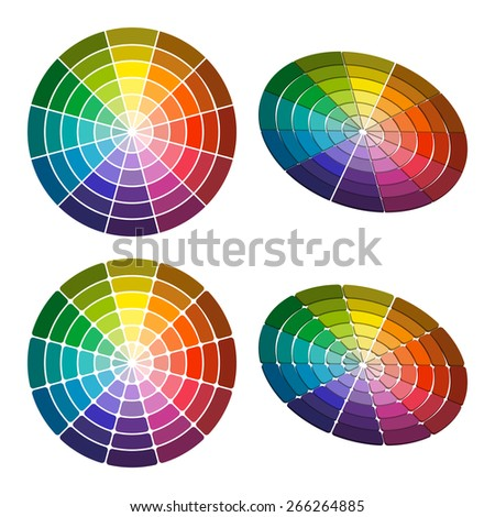 Color wheel with shade of colors. Vector icon, Color circle - stock vector