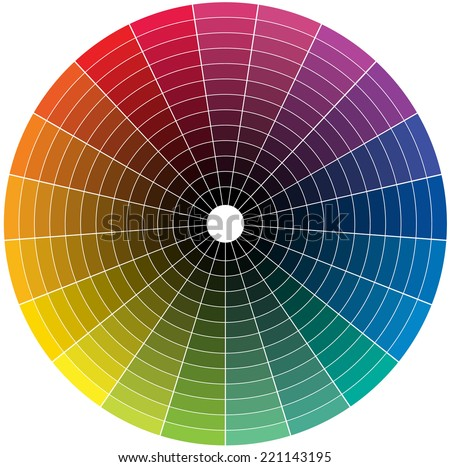 Color wheel with the transition to black in the middle - stock vector
