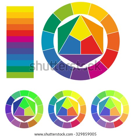 Color Wheels Isolated on White, Color Harmony - stock vector