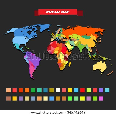 Color world map template - stock vector