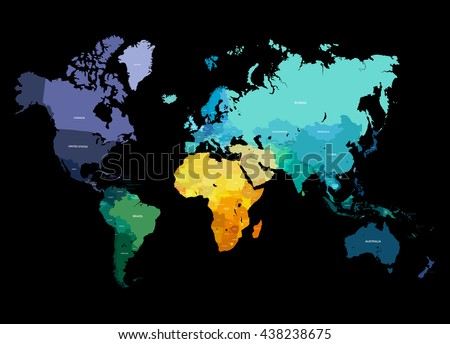 Color World Map Vector Illustration. Empty template with country names text. Isolated on black background with different colors of continents and countries. - stock vector