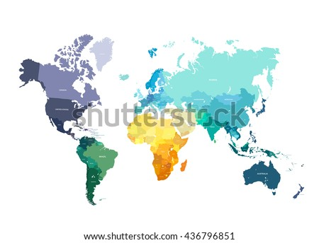Color world map vector illustration empty stock vector hd royalty color world map vector illustration empty template with country names text isolated on white gumiabroncs Choice Image