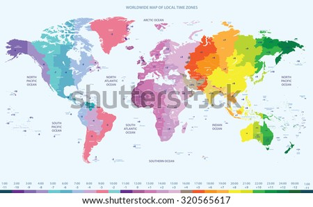 Color Worldwide Map Local Time Zones Stock Vector - Us map with time zones hightlighted