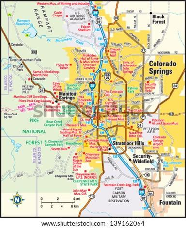 Colorado Springs Colorado Area Map Stock Photo Photo Vector