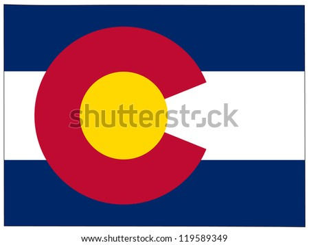 Colorado vector map with the flag inside. - stock vector