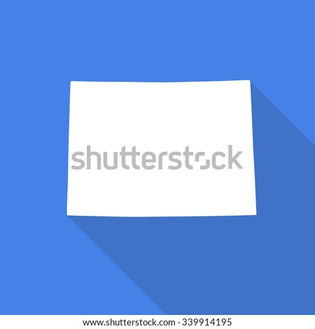 Colorado white map,border flat simple style with long shadow on blue background