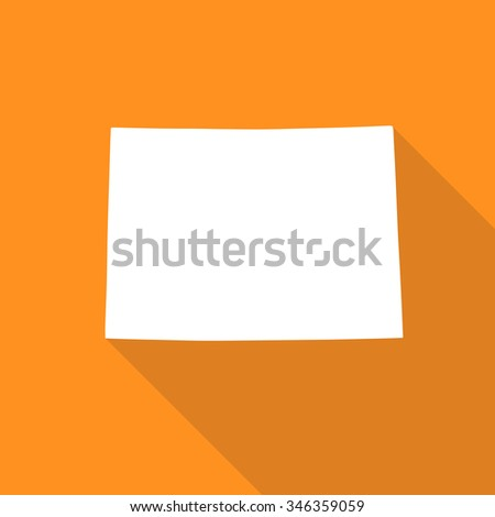Colorado white map,border flat simple style with long shadow on orange background
