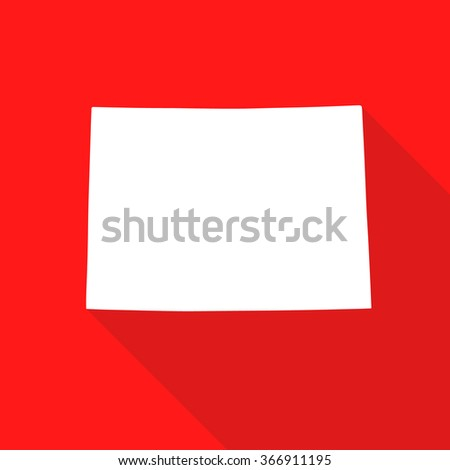 Colorado white map,border flat simple style with long shadow on red background