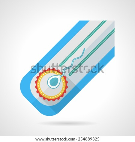 Colored abstract flat vector icon for artificial insemination in vitro on white background - stock vector