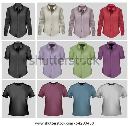 Colored and black polo shirts. Photo-realistic vector. - stock vector