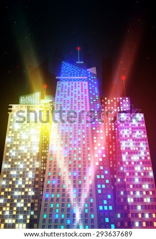 Colored and bright night cityscape. Vector illustration. - stock vector
