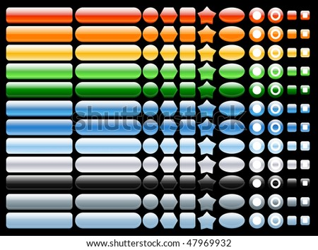 colored and shiny web buttons 12 colors - stock vector