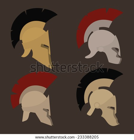Colored antique  Roman or Greek helmets for head protection soldiers with a crest of feathers or horsehair with slits for the eyes and mouth, vector illustration - stock vector