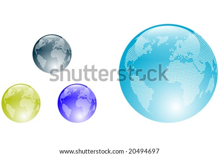 Colored aqua style Earth Globes