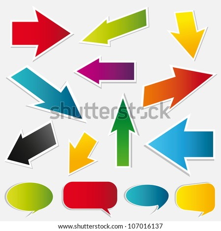 colored arrows and speech bubbles