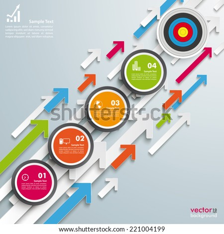 Colored arrows with circles and target on the grey background. Eps 10 vector file. - stock vector