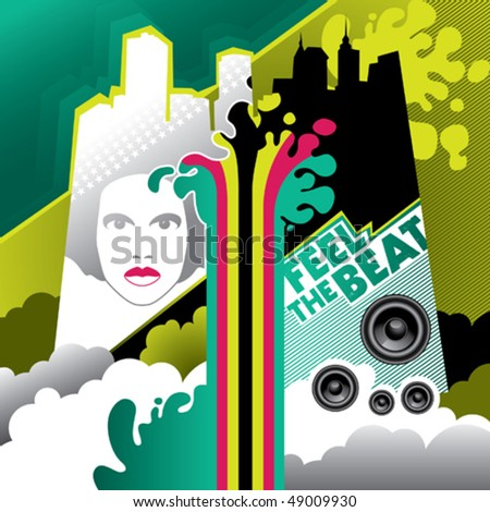 Colored artistic urban banner. Vector illustration. - stock vector