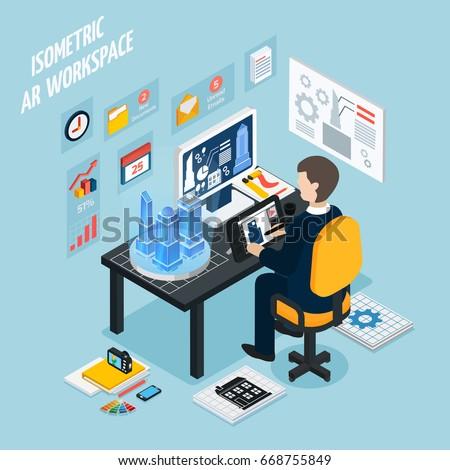 Colored augmented reality workplace isometric composition with man at work and with technology equipment vector illustration