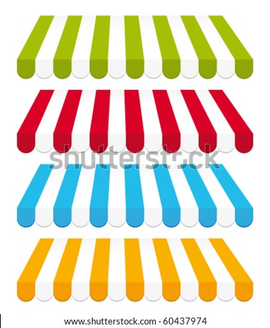Colored awnings. Vector set. - stock vector